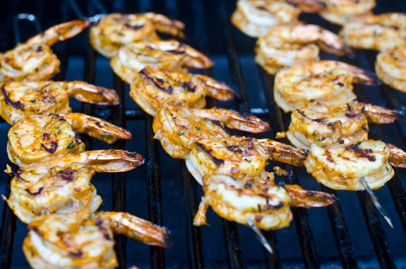 Grilled Shrimp #Skewers w/ Tomatoes, Garlic & Herbs. We can hear the ...