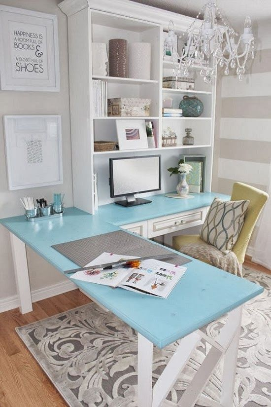 Tiffany Blue is my favorite color!  Great pop of color for this office!