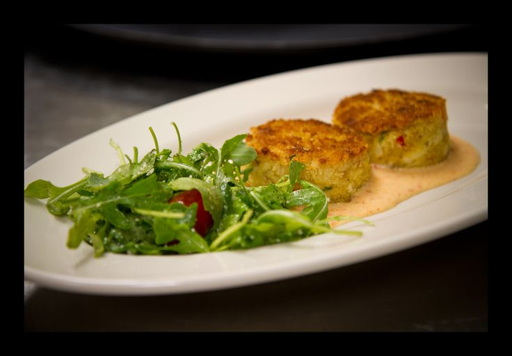 ... . Served with a Roasted Red Pepper Sauce and a Tomato & Arugula Salad