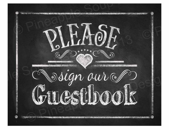 Printable Wedding Chalkboard sign  PLEASE sign our by PSPrintables, $3.00