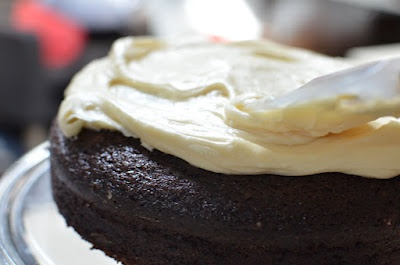 Chocolate Stout Cake with Bailey's Cream Cheese Icing