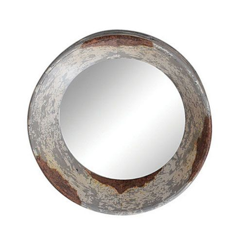 Round zinc framed mirror Round framed mirror