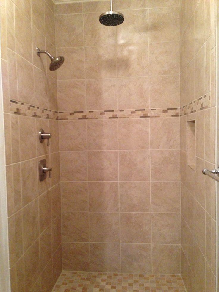 beige tile shower with rain head shower fixture beige tile shower