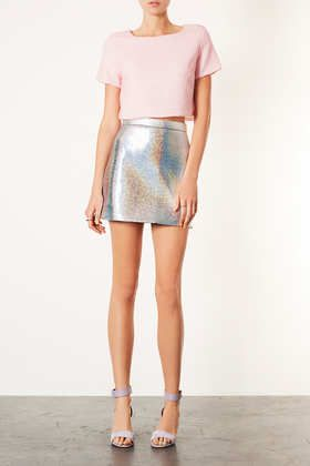 HOLOGRAPHIC ALINE SKIRT  Price: £38.00