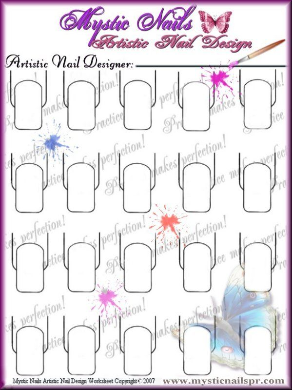 Nail Art Practice Sheet Nail Designs Pinterest