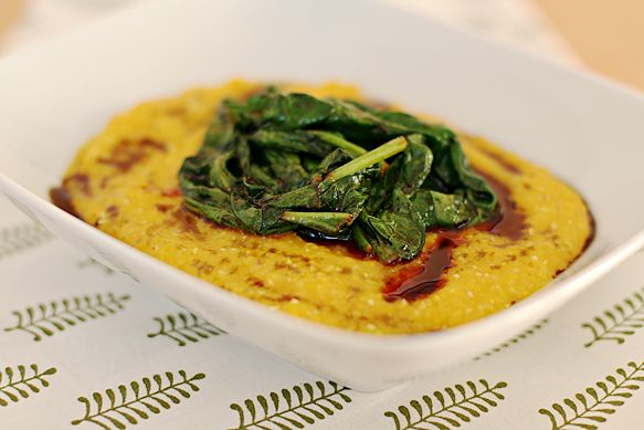 Creamy butternut squash polenta with spicy wilted spinach -- Food ...