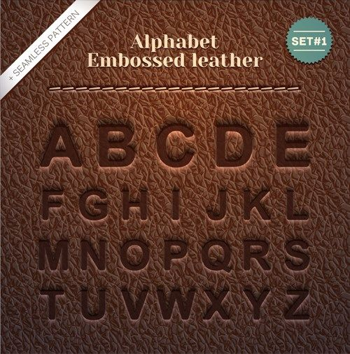 Embossed leather alphabet vector vector pinterest for Leather embossing letters