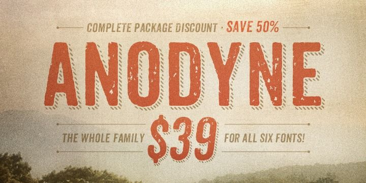 A more realistic distressed effect, thanks to OpenType alternates – Anodyne from MyFonts