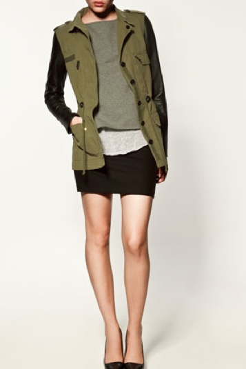 Military Jacket with leather sleeves- Zara Give it