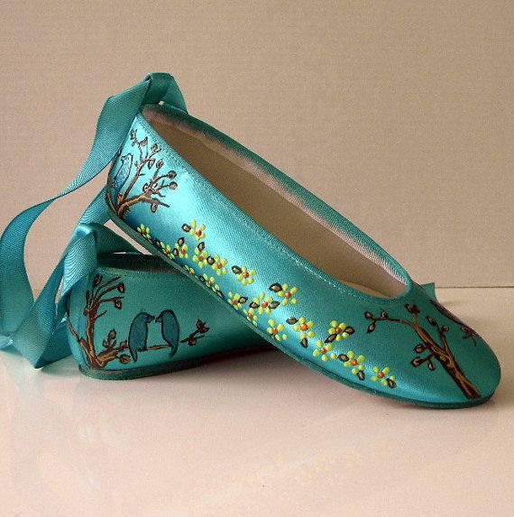 wedding shoes tiffany blue flats branches and birds by norakaren 225