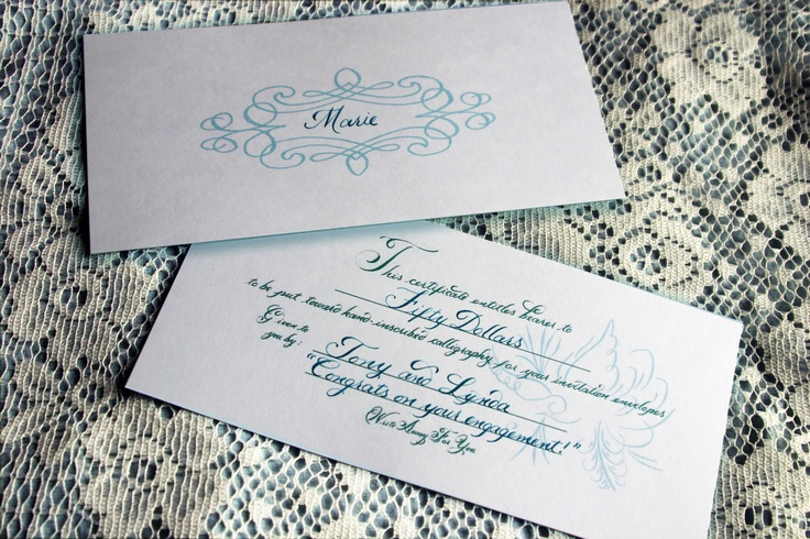 You calligraphy Great idea for an engagement or shower gift. A gift ...