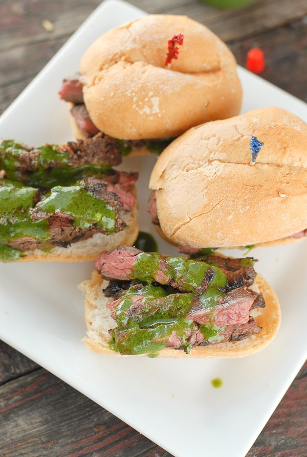 Grilled Skirt Steak Sliders with Salsa Verde Aioli ~ These sliders are ...