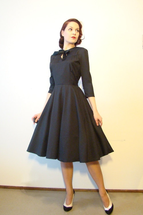 RESERVED for Jean Last Chance Sale: 40s style wool dress ...
