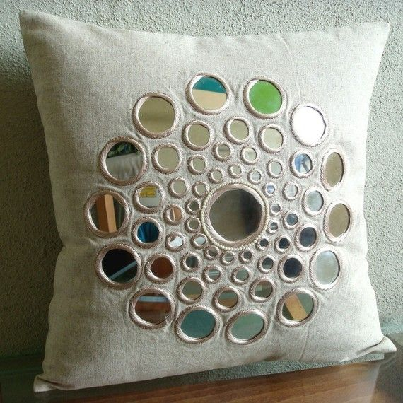 Circle Of Life - Throw Pillow Covers - 16x16 Inches Cotton Linen PIllow Cover with Mirror Embroidery