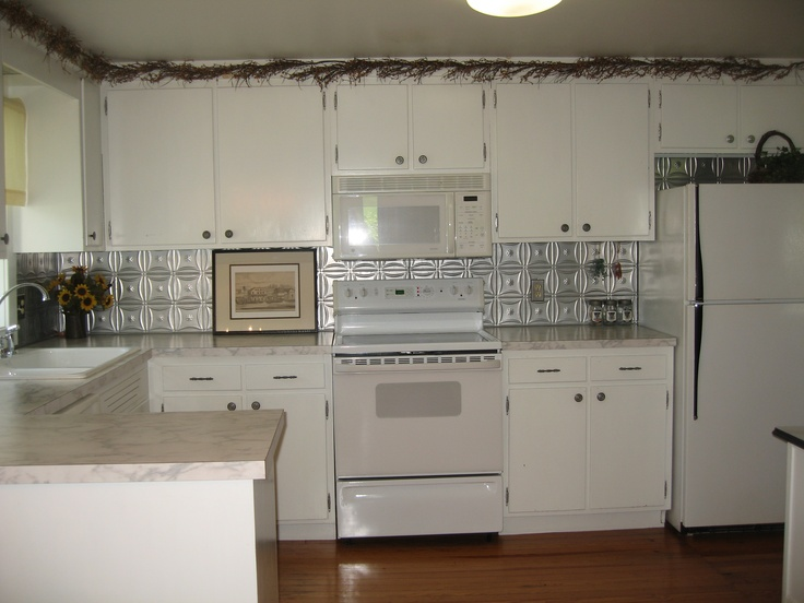 kitchen redo tin ceiling backsplash kitchen pinterest