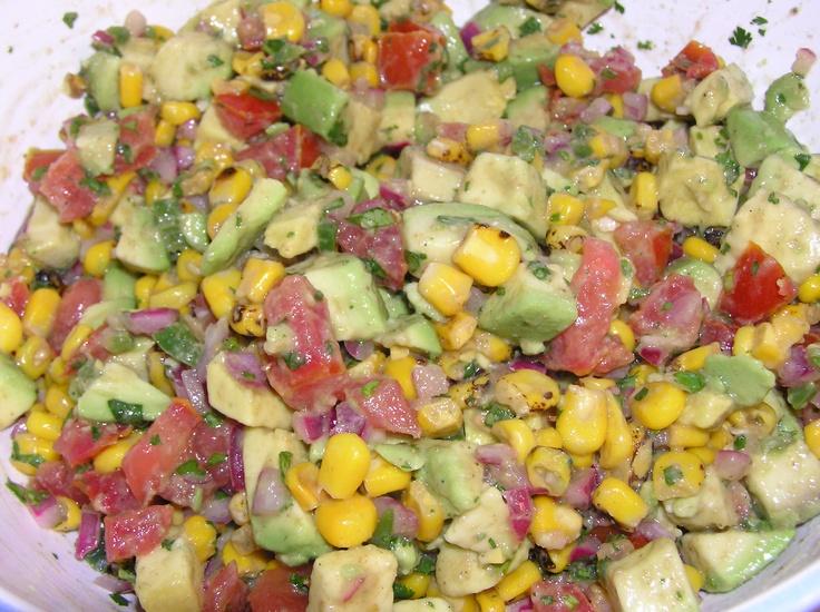 CORN & AVOCADO SALSA: 1 c. Trader Joe's Roasted Corn; 2 lg. avocados ...
