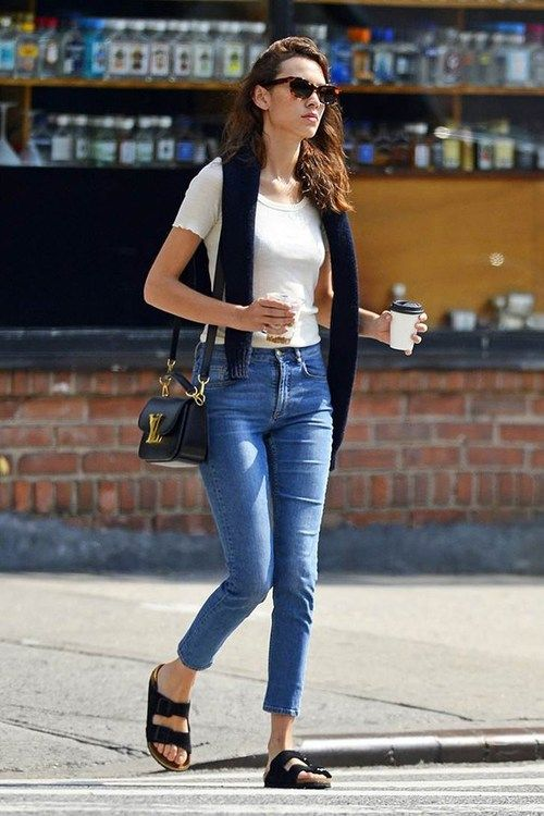 >>> Alexa Chung on the street in NY with coffee and what looks like Birkenstocks