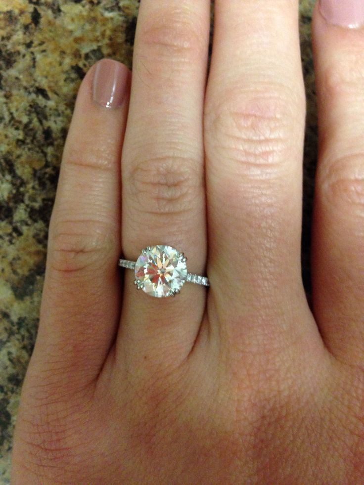 2 5 carat round solitaire center stone Wedding Rings