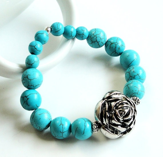 Turquoise Elastic With Silver Flower Bracelet by BijiBijoux, $31.00