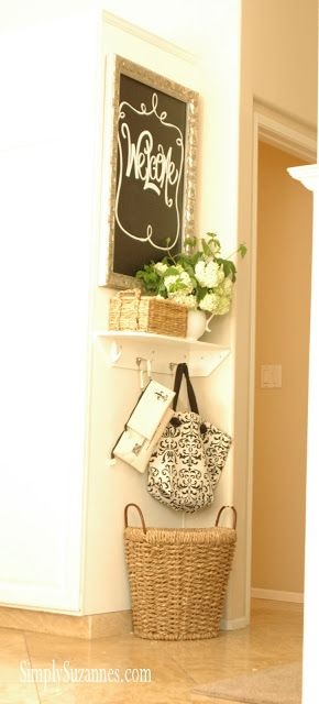 """Simply Suzanne's AT HOME: my """"catch-all"""" corner make-over Check out what she uses the tote and the little zippered clutches for. Great idea"""