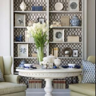 Wallpaper Behind Shelves Built Ins Pinterest