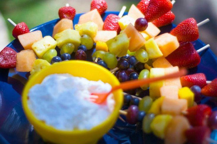 Rainbow fruit kabobs with dip | Ryan's Rainbow B-Day | Pinterest