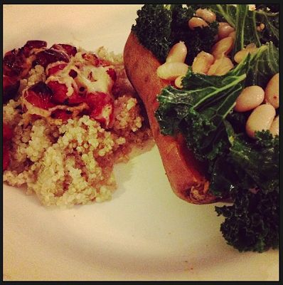 White Bean and Kale Stuffed Sweet Potato with a side of Roasted ...