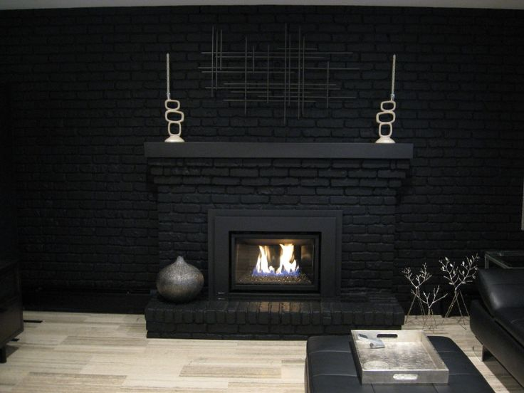 Black Painted Brick Fireplaces For The Home Pinterest