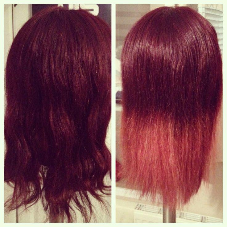 Dark cherry red hair with pink dipdye | Red Hair | Pinterest