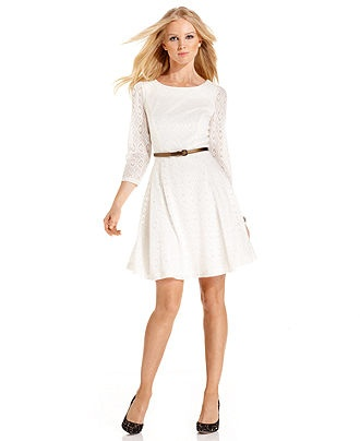 Three quarter sleeve belted pointelle a line womens dresses macy s