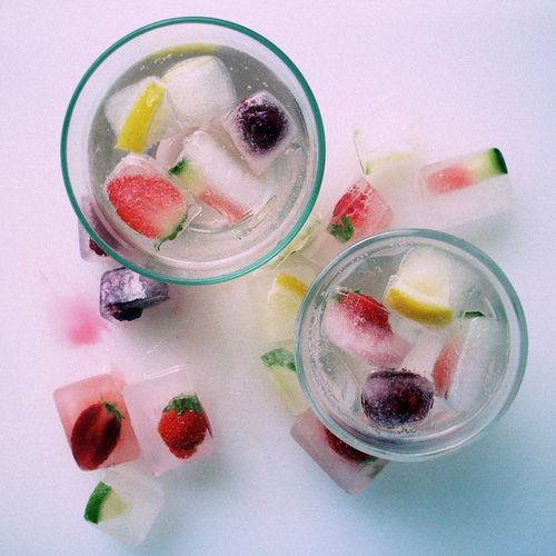 Freeze Fruit in Ice Cubes