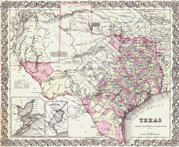 Vintage State Map  Texas 1855