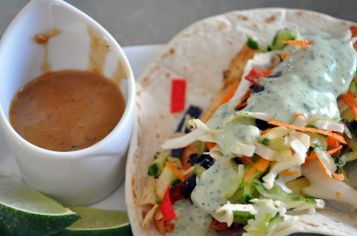 Grilled fish tacos with tomatillo lime dressing and shallot ginger ...