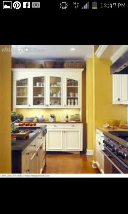 Yellow walls white cabinets kitchen  Around the house  Pinterest