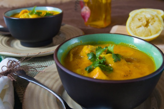 Carrot Ginger Soup with Pea Dumplings | Vegan | Pinterest