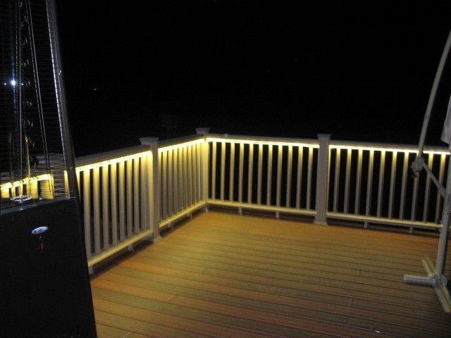 Deck rail lighting garden decor pinterest for Decking lights