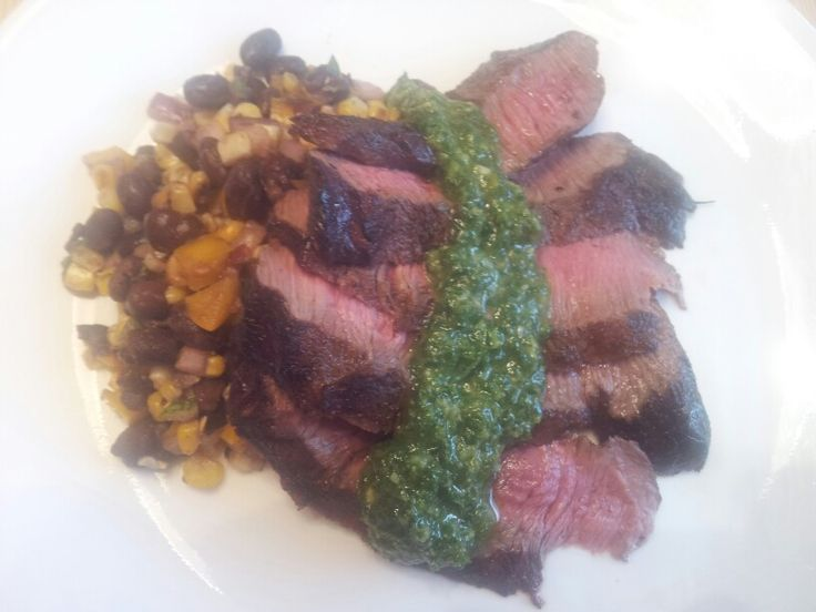 ... Wine Flank Steak with Chimichurri and Grilled Corn Black Bean Salad