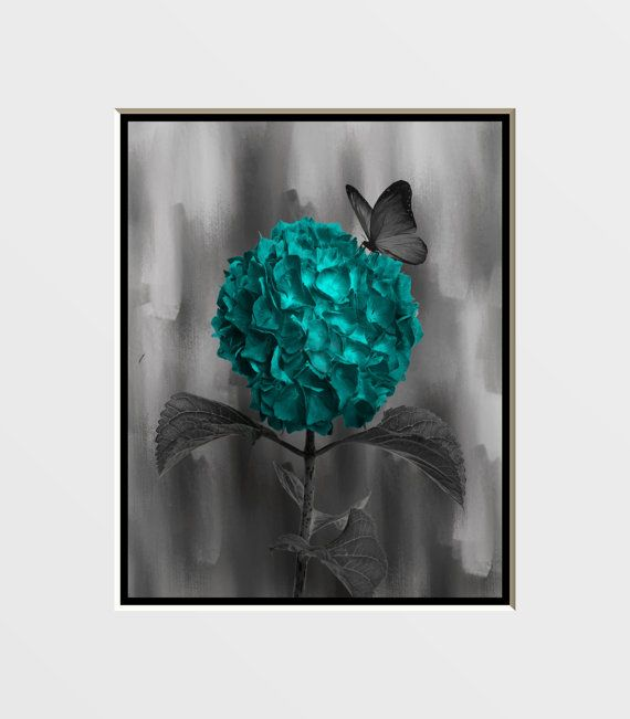 Teal Gray Butterfly On Flowers Wall Art Photography Home Decor Matted