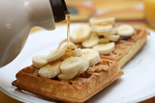 Waffles, banana & maple syrup | Bon Appetite | Pinterest