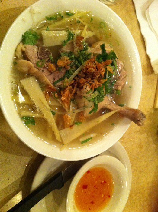 ... duck pho as you can see the duck and the noodle soup arrive duck pho