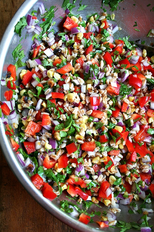 Farro Salad With Roasted Corn, Red Peppers and Onions!