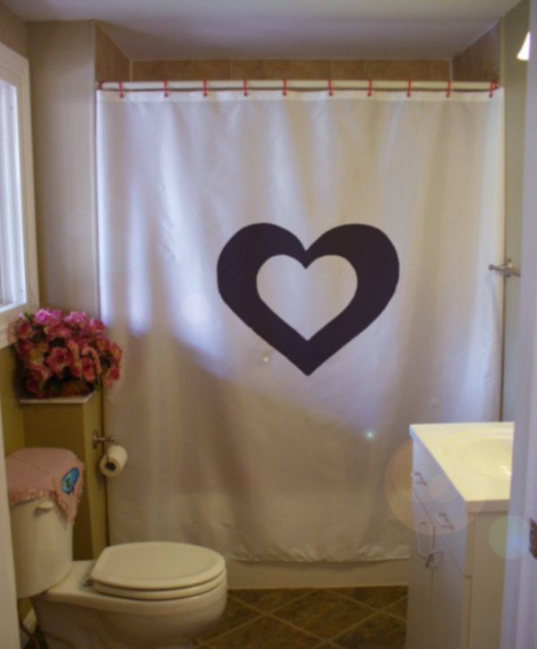 Double love heart shower curtain valentine romance romantic amour