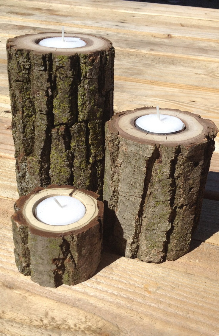 Set of three staggered height wood log tea light candle for Log candle holder how to make