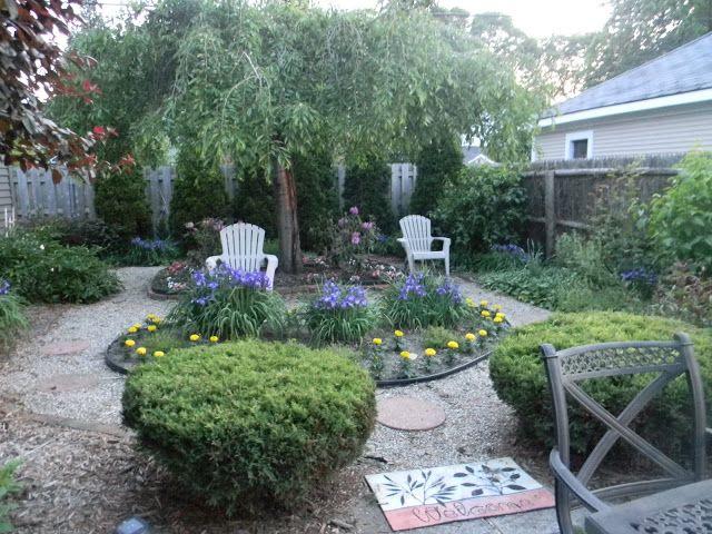 Grassless backyard outside pinterest for Grassless garden designs