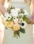 """The bridal bouquet will be a loose clutch of """"patience"""" garden roses, lily of the valley, lavender, """"amnesia"""" roses, white anemones, berzillia berries, """"quatre coeurs"""" spray roses, and fresh rosemary wrapped in natural burlap.  The bridal bouquet will have a greater focus on the white flowers being used."""
