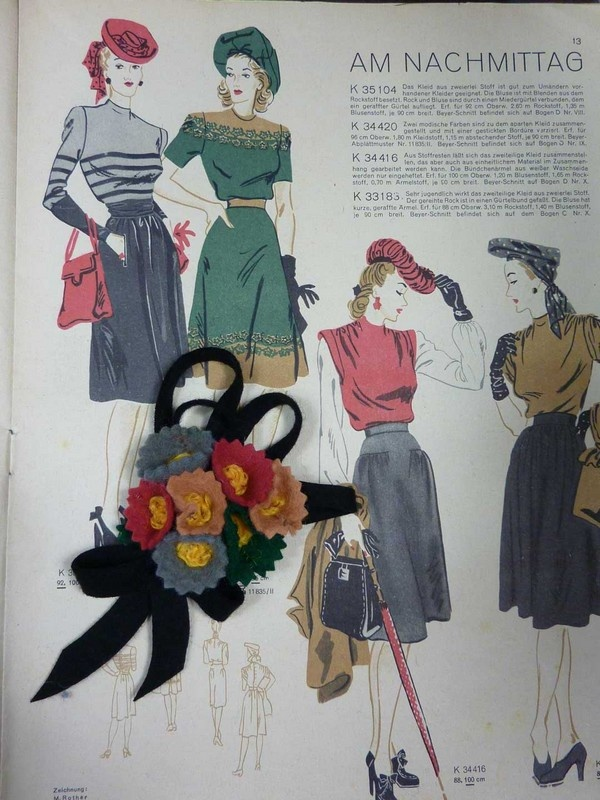 Vintage Felt Brooch Colour Inspiration From 1940s Magazines