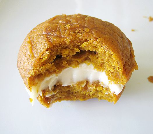 Pumpkin whoopie pies with maple cream cheese icing.