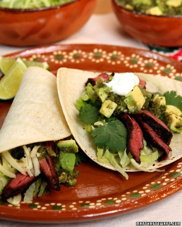 Chile-Rubbed Skirt Steak Tacos - Martha Stewart Recipes ( have made ...