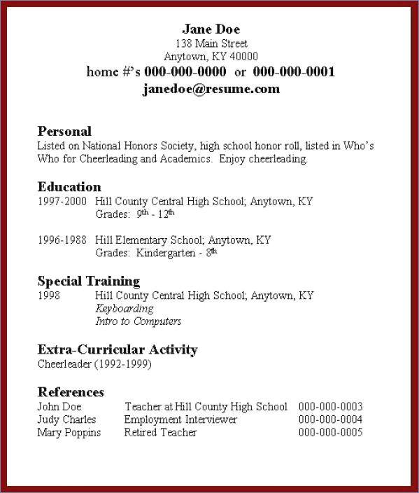 College app resume