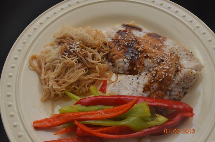 Asian Steamed Cod w/ Ginger-Soy Soba Noodles